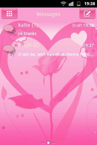 SMS ProのテーマバレンタインGO