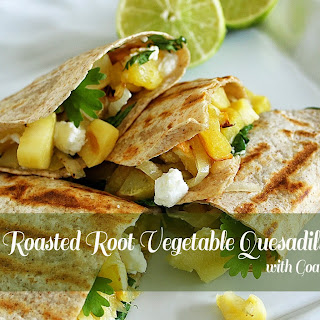 Lime Roasted Root Vegetable Quesadillas with Goat Cheese