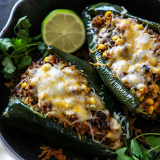 Shredded Beef, Black Bean and Quinoa Stuffed Poblanos.