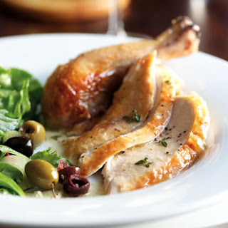 Roast Chicken with Mustard-Thyme Sauce and Green Salad with Olives