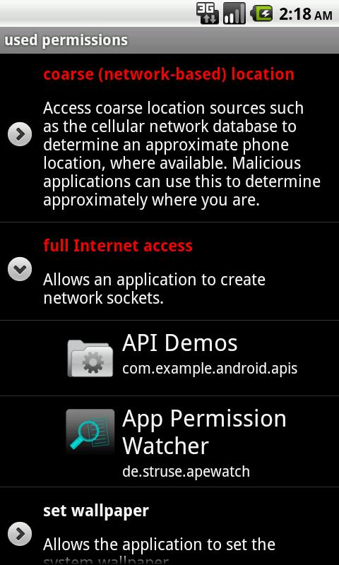 App Permission Watcher- screenshot
