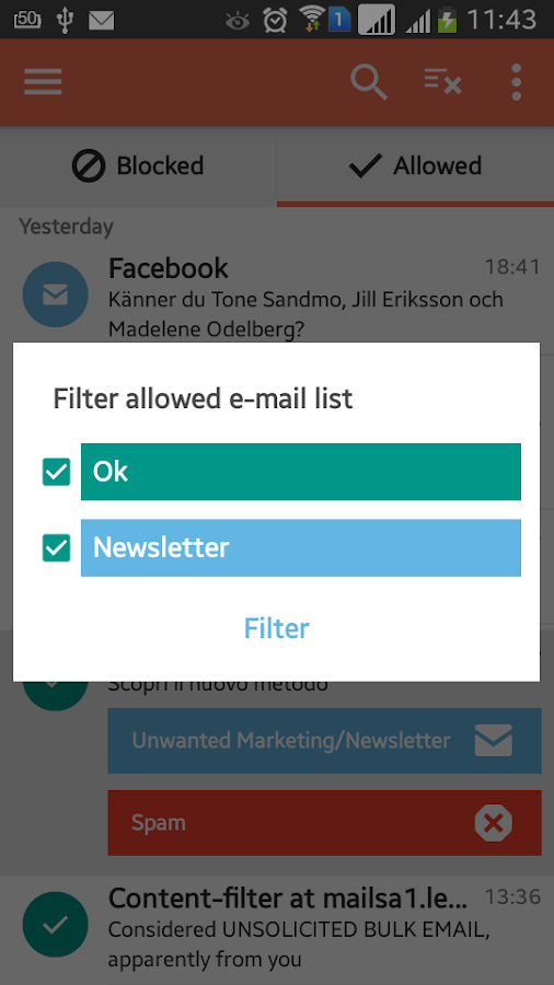 SpamDrain - email spam filter- screenshot