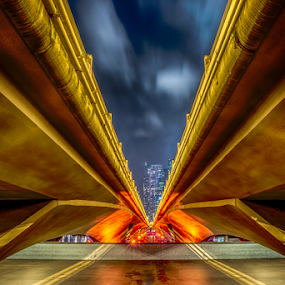 Under the Bridge by Alex Shanti - City,  Street & Park  Night ( hdr, night, bridge, singapore, city, , Urban, City, Lifestyle, vertical lines, pwc )