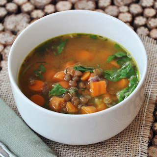 Spinach, Carrot, and Lentil Soup.