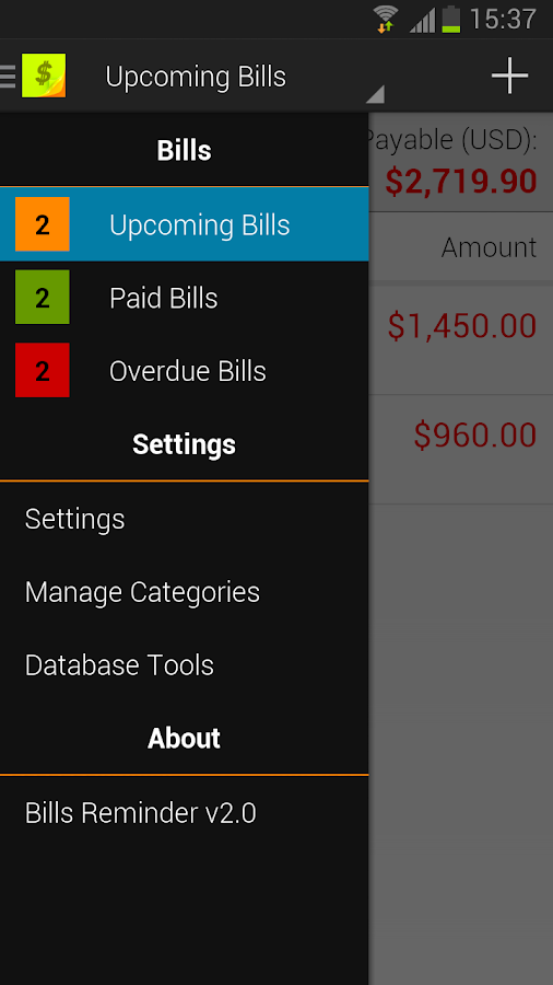 Bills Reminder 2.0 - screenshot