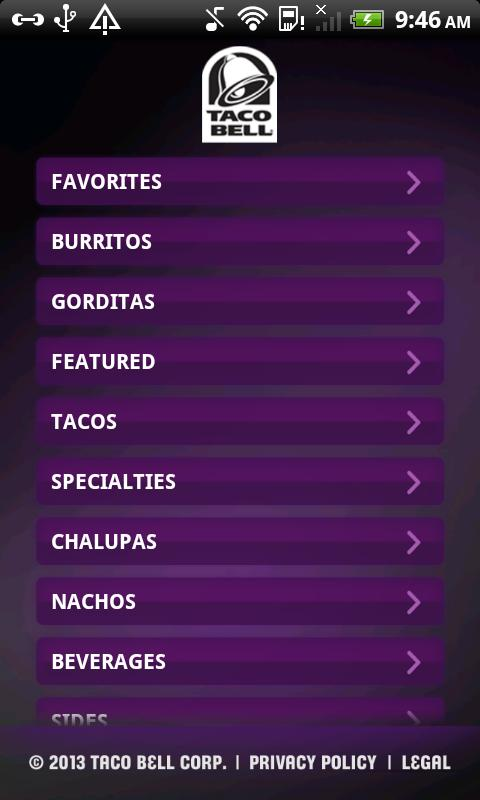 Taco Bell Mobile App - screenshot