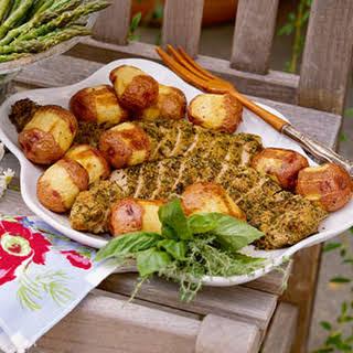 Herb-Crusted Pork Tenderloin with Horseradish-Roasted New Potatoes.