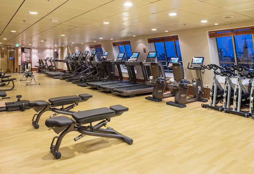 Crystal-Symphony-Fitness-Center - Maintain your workout regimen with scenic views of the sea in the Fitness Center aboard Crystal Symphony.