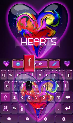 無料个人化Appのハーツキーボードのテーマ|HotApp4Game