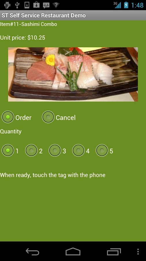 Self Service Restaurant Demo- screenshot