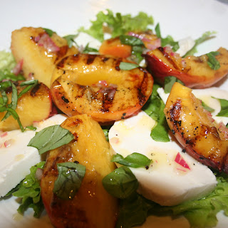 Grilled Peaches & Cream(y) Mozzarella Salad