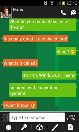 GO SMS Windows 8 Metro