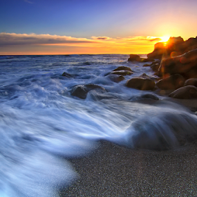 WAVE by Fadly Shaputra - Landscapes Sunsets & Sunrises ( water, sunset, wave, stone, beach )