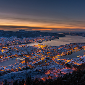 Holiday lights in snowy Bergen by Paulius Bruzdeilynas - City,  Street & Park  Night ( bergen, water, mountain, new year, christmas, fjord, norway, city, lights, holiday, norwegian, night, norge, evening, mood, mood factory, hanukkah, red, green, artifical, lighting, colors, Kwanzaa, blue, black, celebrate, tis the season, festive )