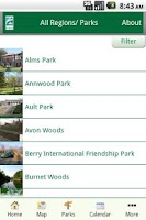 Screenshot of Cincinnati Parks