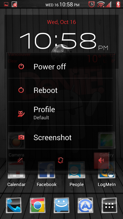 Black Wood Red CM11 Theme - screenshot