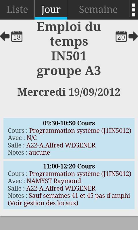 Bordeaux 1 Schedule - screenshot