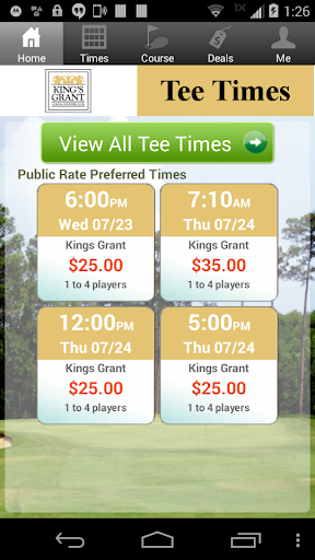 King's Grant Golf Tee Times