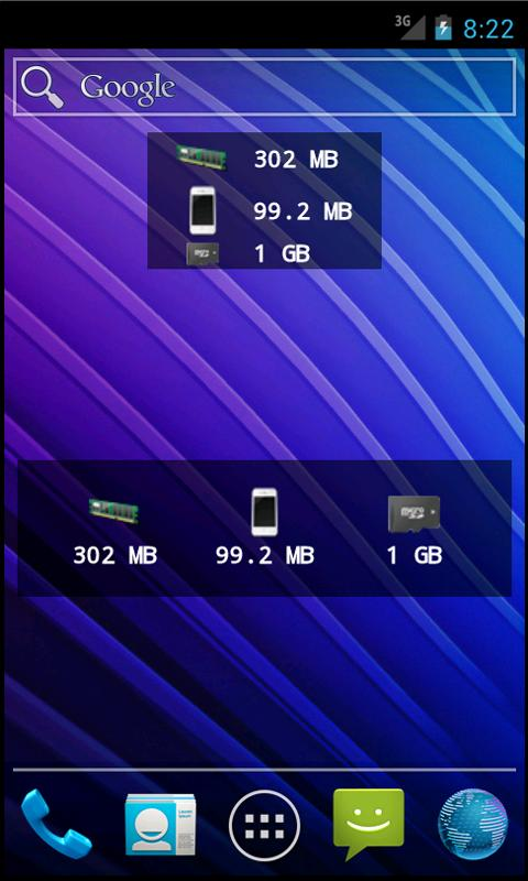 Memory Status Widget - screenshot