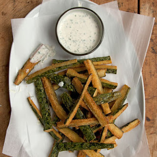 Fried Cucumbers with Sour Cream Dipping Sauce.