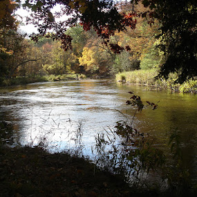 Benton Michigan by Sandra Fouty - Novices Only Landscapes ( michigan, benton, fall, trail, river )