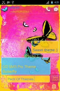 GO SMS Pro Theme Butterfly - screenshot thumbnail