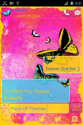 Theme Butterfly for GO SMS- screenshot