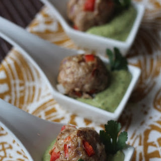 Southwest Meatballs with Creamy Cilantro Dipping Sauce.