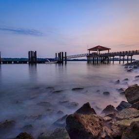 Dawn at ubin by GokulaGiridaran Mahalingam - Landscapes Waterscapes ( clouds, ubin, waterscape, sunset, nd, smooth water, sunrise, jetty, bridges, landscape, rocks, singapore )