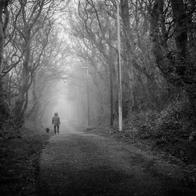 Fog by Derek Robinson - Black & White Street & Candid ( nikon d90 fog dog walker,  )