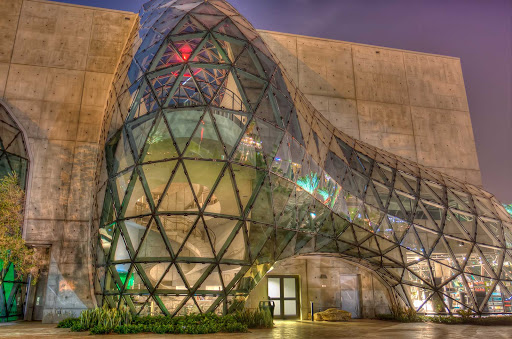 The Salvador Dali Museum at night in Tampa, Florida.