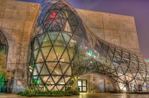 The Salvador Dali Museum at night in Tampa, Florida.