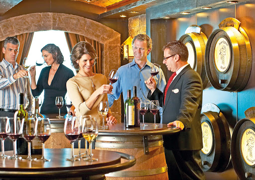 "Vines-Wine-Bar-Princess-Cruises - Head to the Vines Wine Bar on your Princess Cruise to unwind with a drink or to meet new people. It was voted one of the ""Best Wine Bars at Sea"" by USA Today."