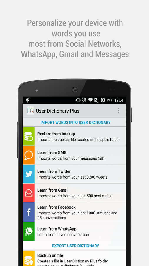 User Dictionary Plus (Free) - screenshot