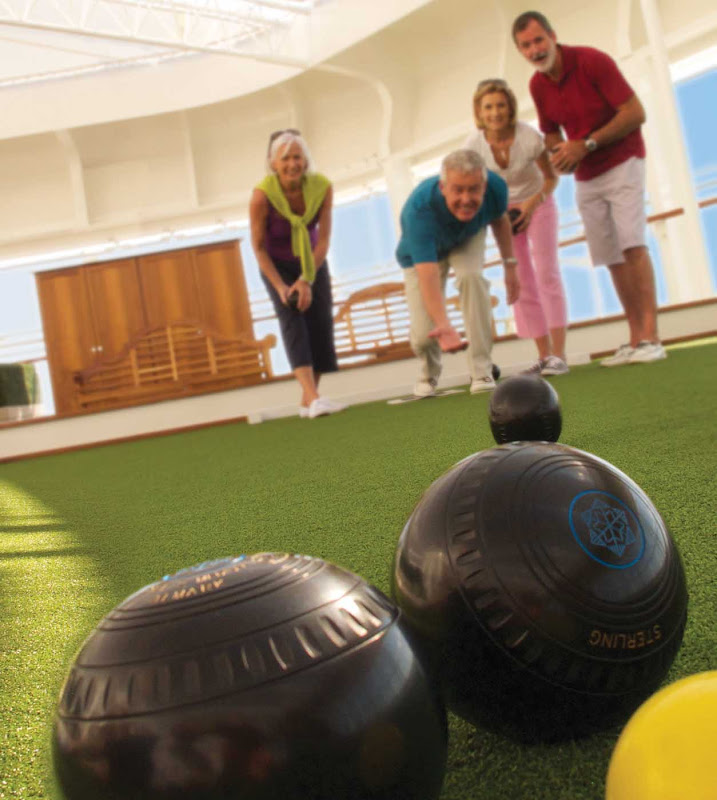 Game for a round of lawn bowls? You'll find it on Queen Elizabeth's games deck.