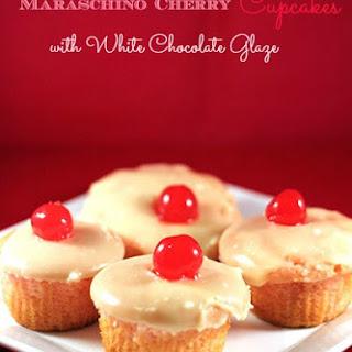 Maraschino Cherry Cupcakes with White Chocolate Glaze.
