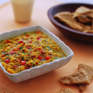 Warm Red-Lentil Dal with Pita Chips.