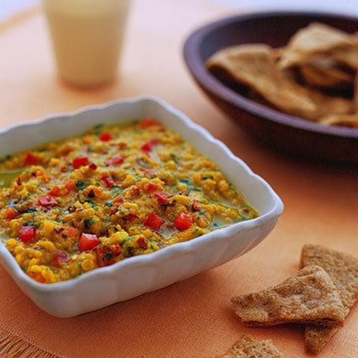 Warm Red-Lentil Dal with Pita Chips Recipe