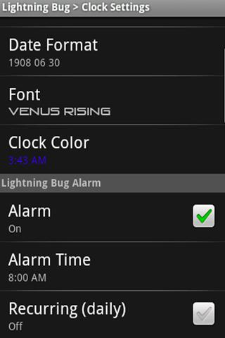 Lightning Bug - Sleep Clock - screenshot