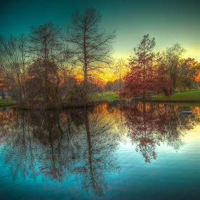 by Mobydick Mobydick - City,  Street & Park  City Parks ( orange, red, park, blue, sunset, trees, sunrise, colorfull, pond, city, , color, colors, landscape, portrait, object, filter forge )