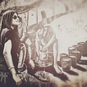 Backstreet by Budin DaneCreative - People Street & Candids ( girl, black and white, graffiti, street,  )