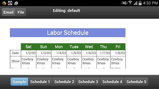 Labour Schedule Mobi