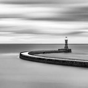 The Gate Keeper by Liam Robson - Black & White Landscapes ( monochrome, black and white, fine art, north east, d3200, seascape, landscape, 10 stop, love, fine art photography, pier, landscape photography, long exposure, sunderland, nikon, roker, passion, filter )
