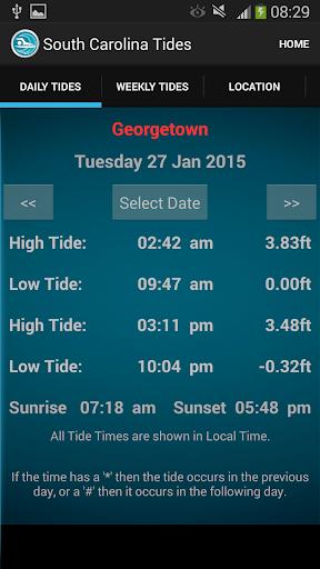 South Carolina Tide Times