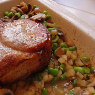 Pork Cutlet with Broad Beans, Wild Mushrooms and Sage