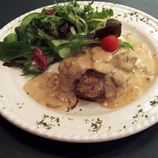Crab-Stuffed Fillet with Whisky Peppercorn Sauce.