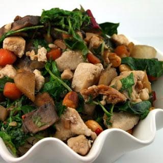 Wok Sauteed Mizuna & Portobello Mushrooms w/ Minced Chicken