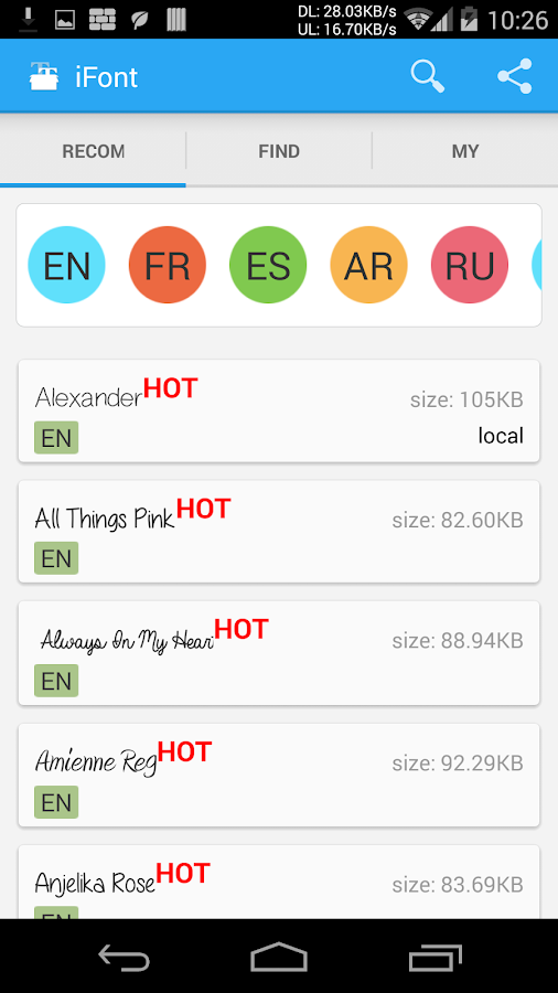 iFont (Font per Android) - screenshot