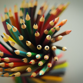 my pencils by José M G Pereira - Artistic Objects Education Objects ( orange, red, colors, white, grey, pink, yellow, close up, black, pencils )