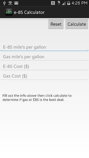 e-85 Calculator